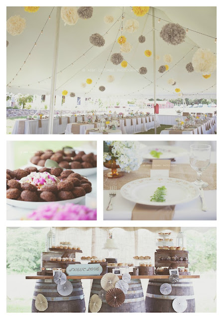 vintage plate rental, dessert buffet, yellow and grey wedding