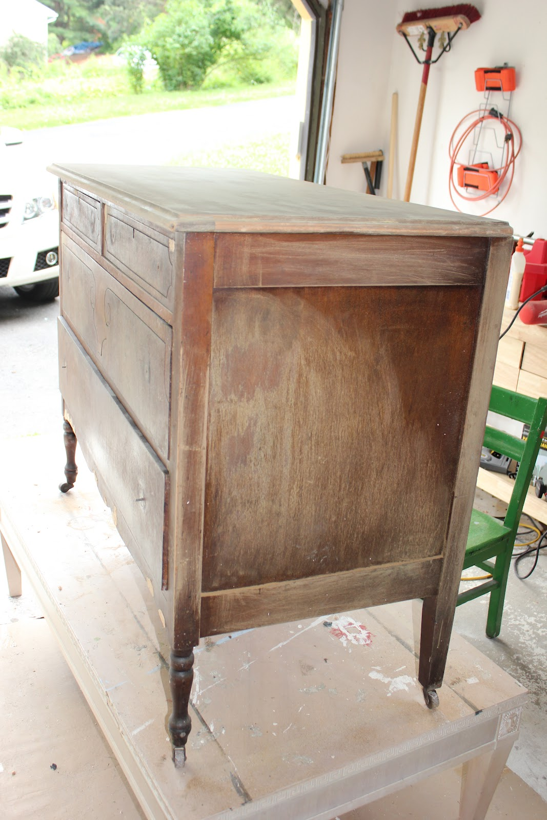 tv antique lighter lee and brushed colored different began took of lightly three by paint then cottage i drawers each dresser grace with shades a painting choosing the neutral stand drawer color