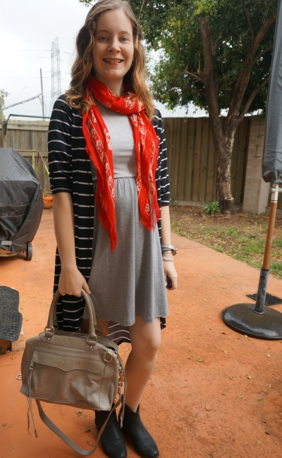 Away From Blue | Petite Blogger Striped Maxi cardigan grey skater dress red skull scarf