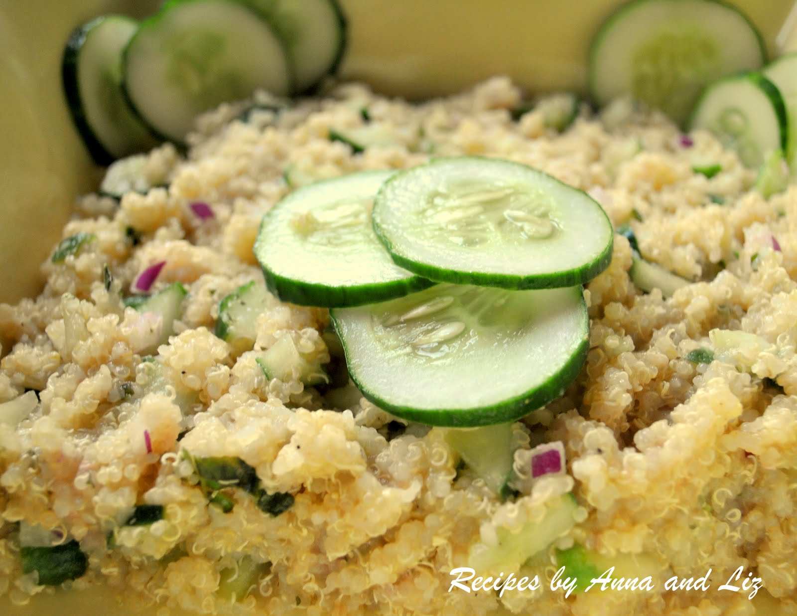 Quinoa and Cucumber Salad with fresh cucumbers, red onion, and fresh ...