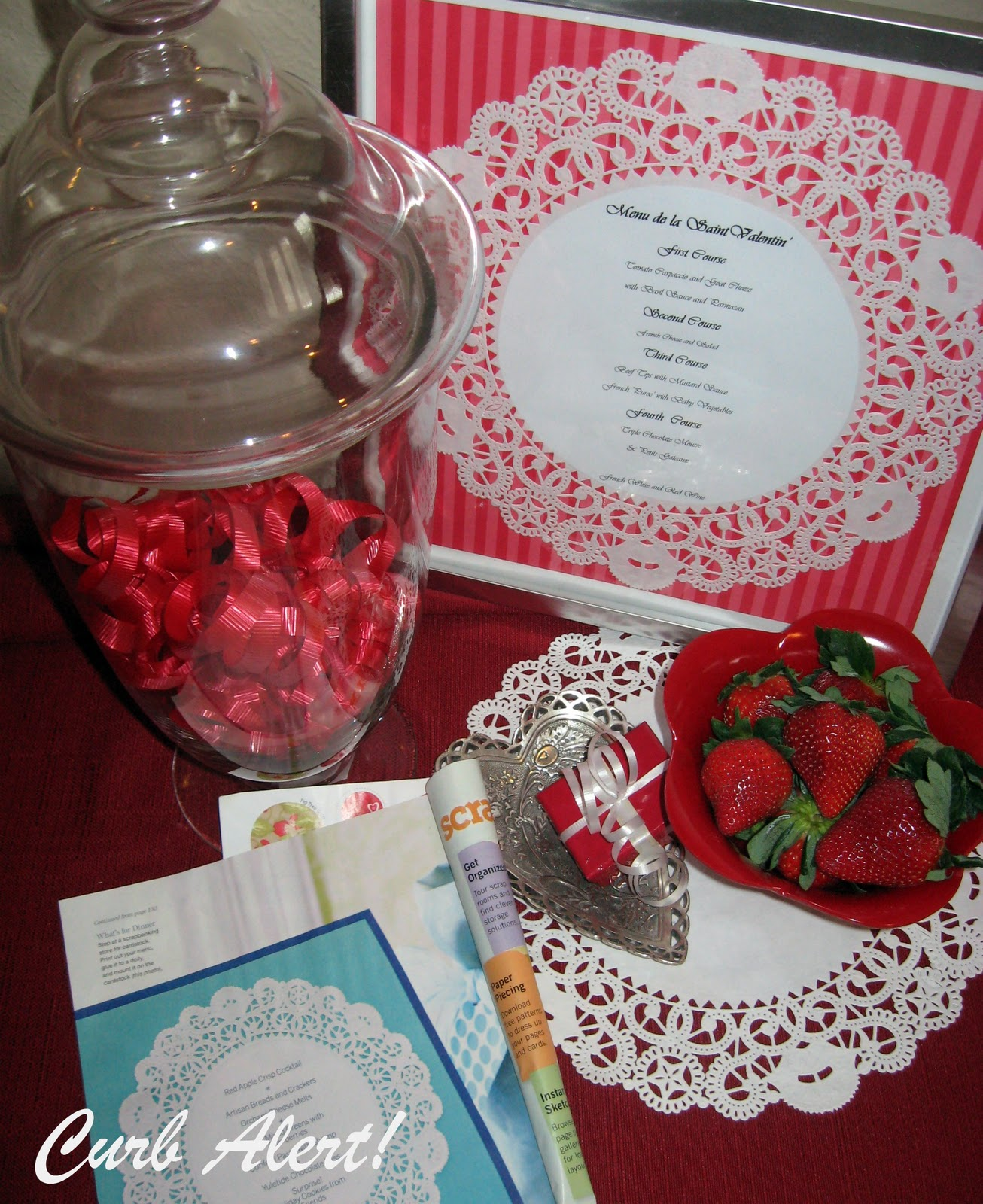 Curb alert valentine 39 s day menu framed doily menu for Valentines dinner party menu