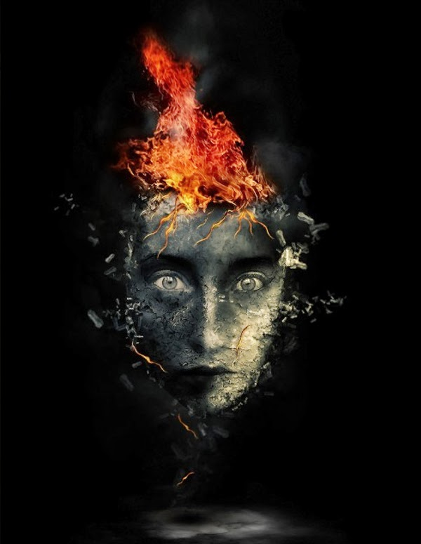 Surreal Human Face with Flame Hair and Disintegration Effect