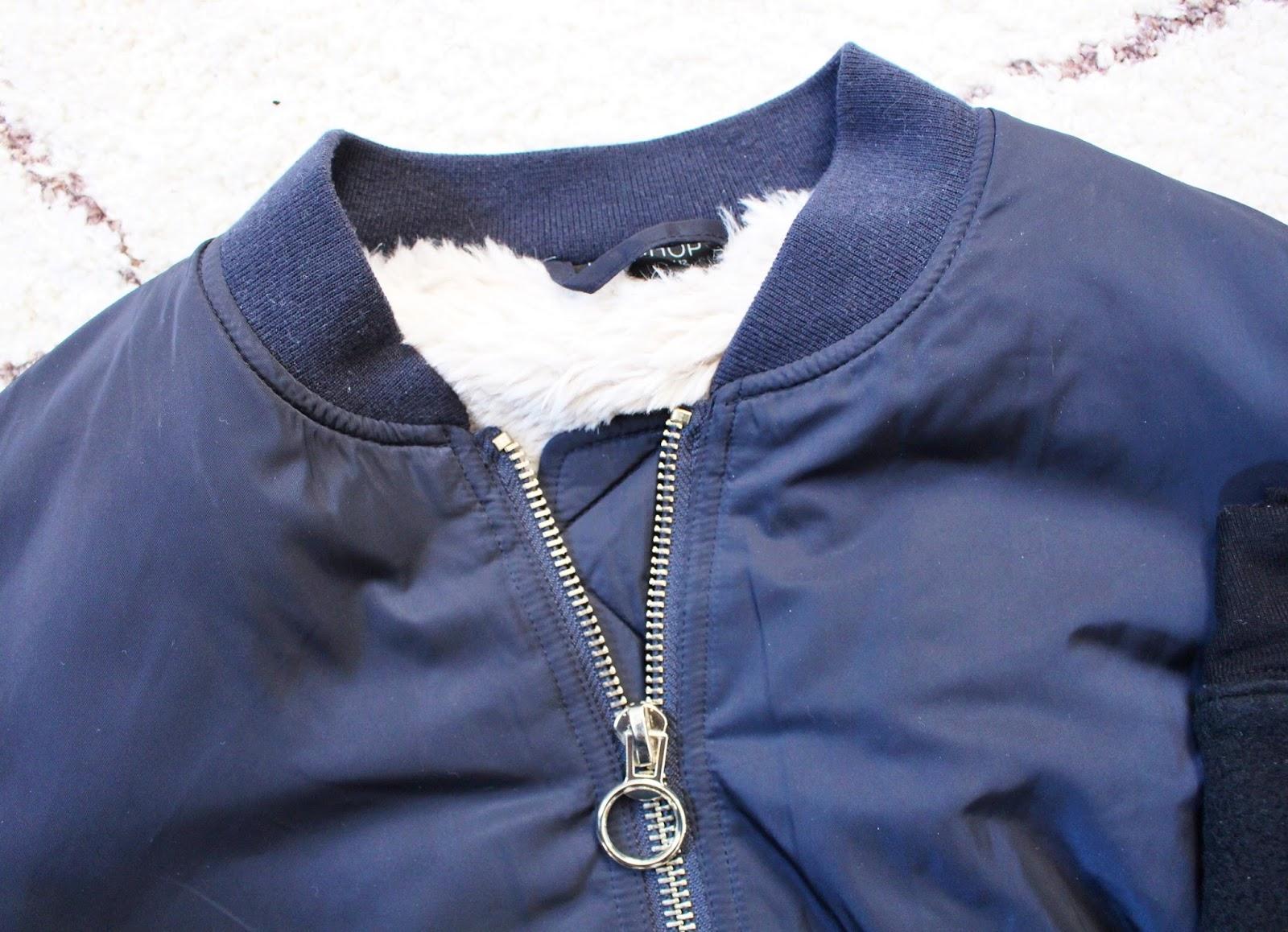 topshop faux fur lined navy blue bomber jacket