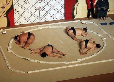тренировка сумо, сумоисты японские,сумо