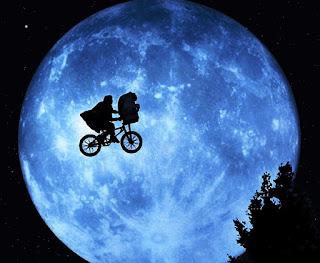 Imagen con Elliot transportando a ET en su bicicleta en sombras. Al fondo una gran luna llena