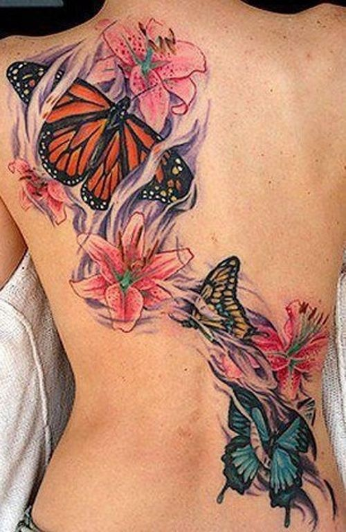 Tattoo butterfly on the back