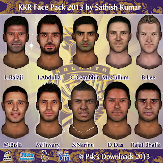 Ipl6 - kolkata Knight Rider Faces for cricket07