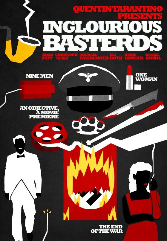 Filmes de Quentin Tarantino - posters de cinema minimalistas - Inglourious Basterds
