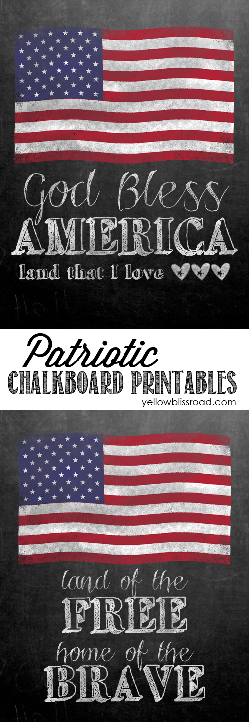 Free Printable Chalkboard with patriotic quotes for 4th of July- lots of free printables on this site!