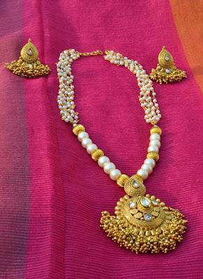 Pearl choker set Indian Jewellery Perkymegs