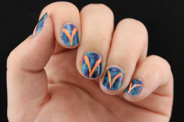 Blue Sheer Marble with Peach Curved Lines Featuring Some OPI Color Paints; Turquoise Aesthetic and Indigo Motif