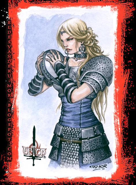 Acuarela del personaje de Kalara hecho por ªRU-MOR, ÉPICA: Edades Oscuras