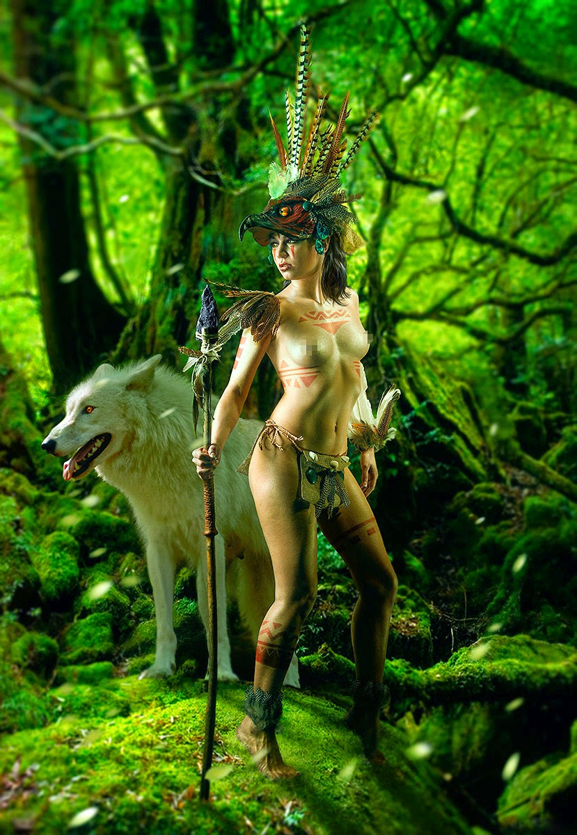Amazon princess mononoke inspired body tattoo and wolf to her side