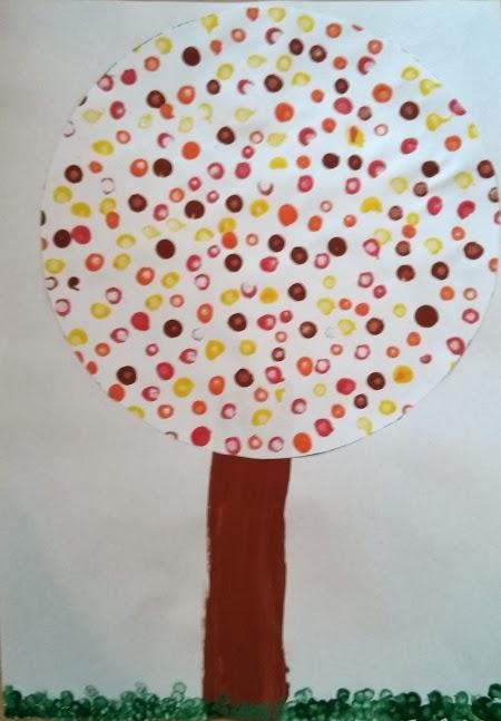rosa rote welt basteln mit kinder tupf herbstbaum. Black Bedroom Furniture Sets. Home Design Ideas