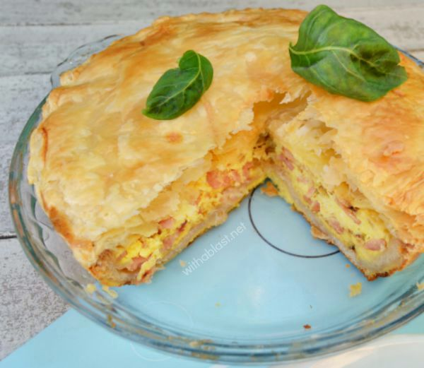 This super easy Bacon and Egg Pie has it all and would make breakfast or brunch special !