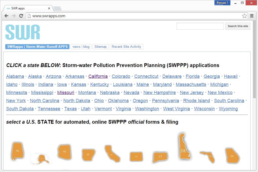 Stormwater Runoff Apps (SWR apps) SWPPP website screenshot
