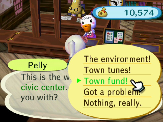 animal crossing city folk donations to the town fund