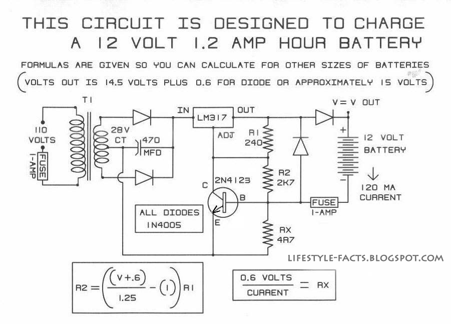 A simple 12V battery charger schematic using LM317 ~ Elektrik