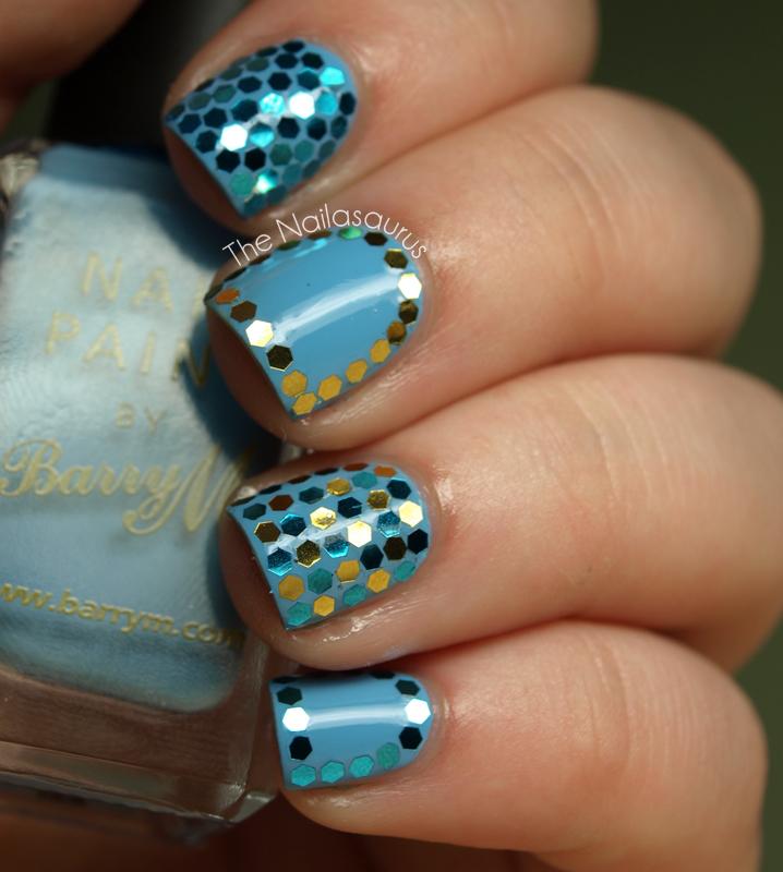 Hex Glitter Nail Art