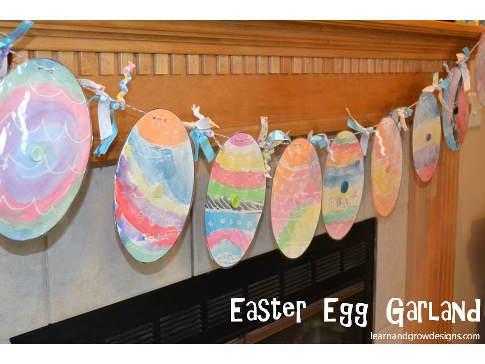 Easter Egg Garland Watercolor Art Project For Kids With Printable Template