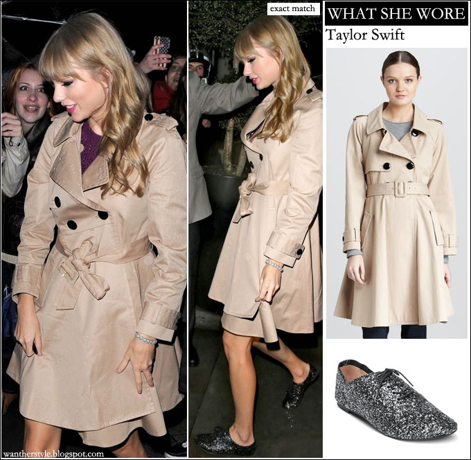 ... what she wore · No comments · Taylor Swift beige trench coat fashion  style glitter shoes dea90c3576f
