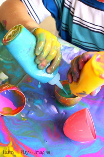 Color mixing paint - process art and science exploration for spring