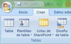 Crear tablas en Access 2007