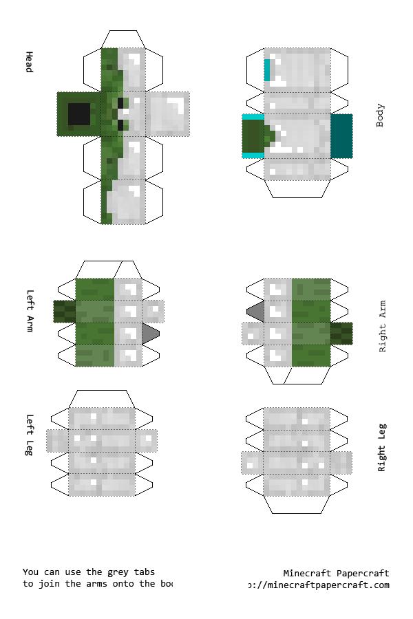 Postado por Caua Santana as Minecraft Papercraft Herobrine With Armor