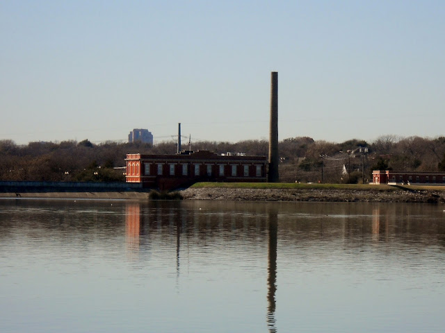 A view of the White Rock Filter Building from across the lake