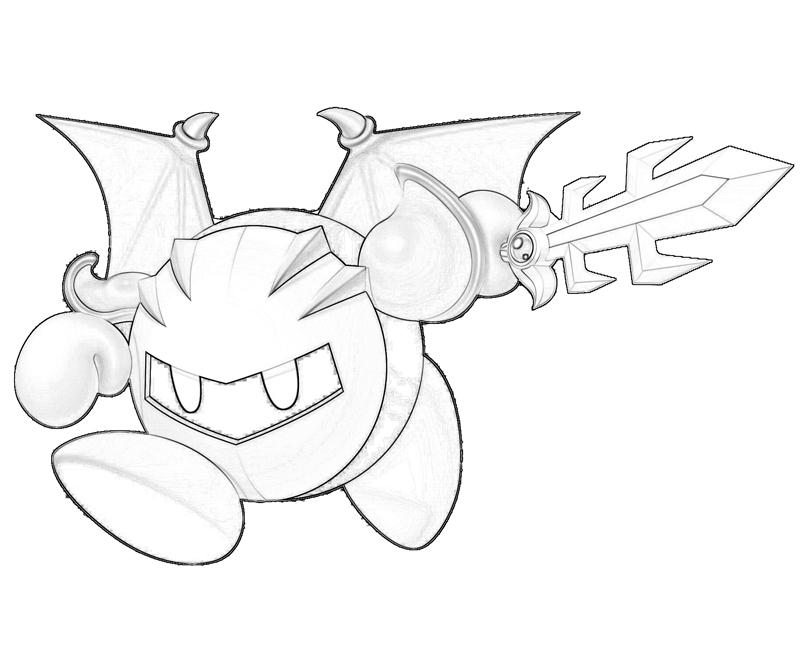 Printable Meta Knight Sketch Coloring Pages 3