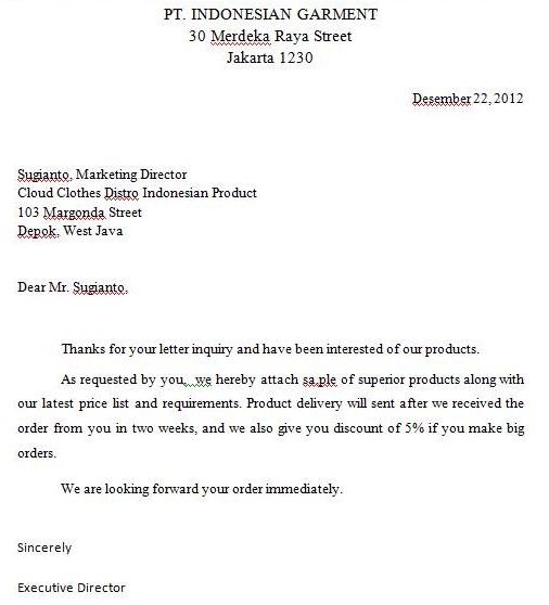 Dhonz Area Bahasa Inggris Bisnis   Inquiry Letter