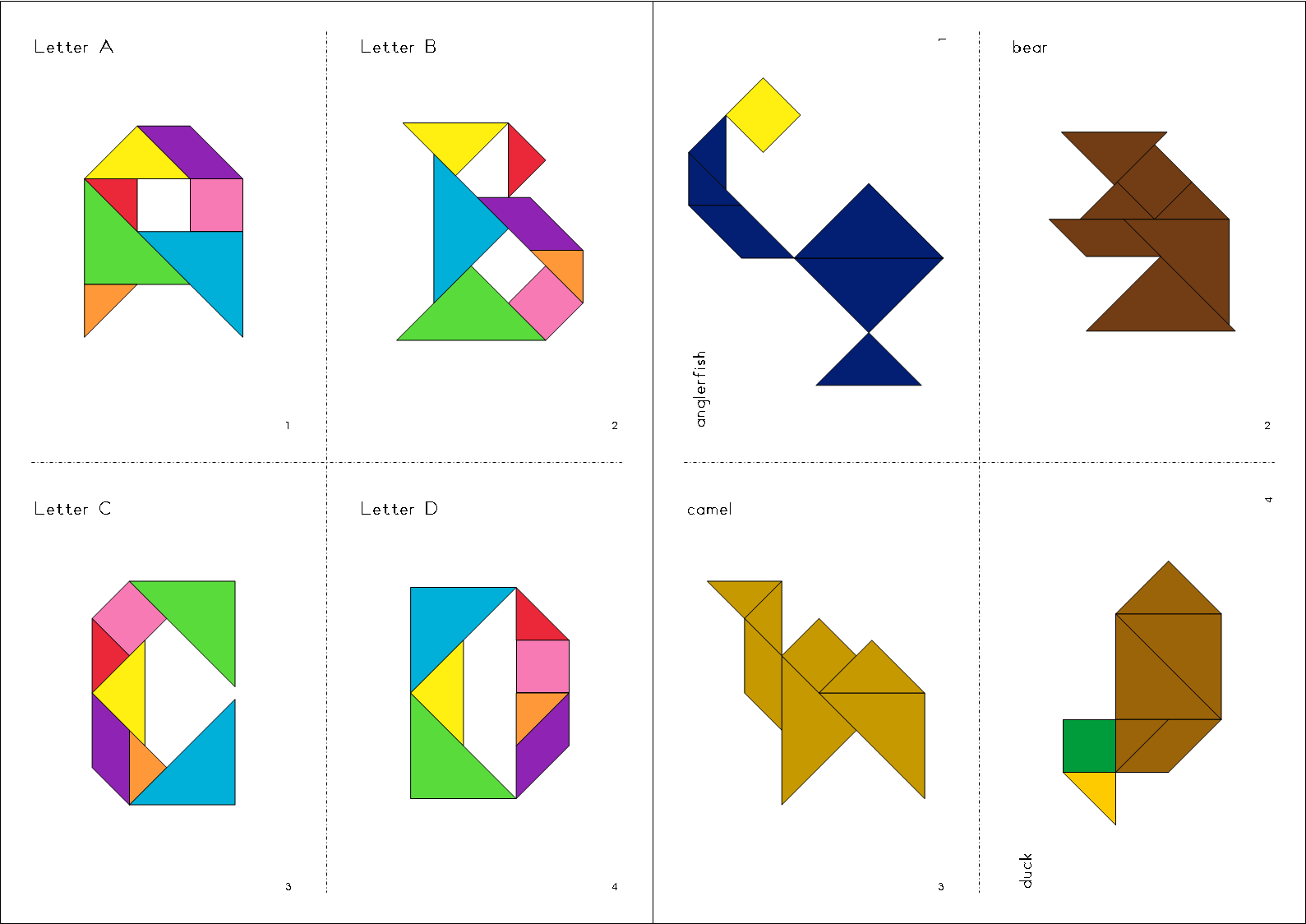 Colorful Tangrams TPT Tangram Animal Alphabet – Tangram Puzzles Worksheets