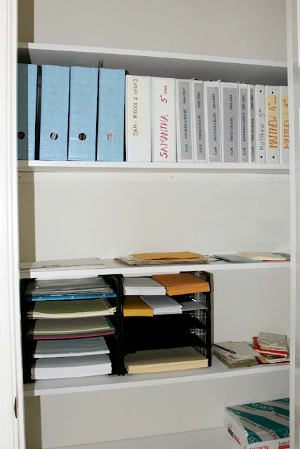 shelves in office closet getting organized