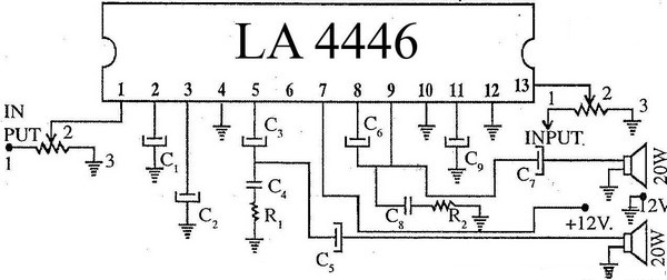 super circuit diagram  top performance la4446 stereo audio