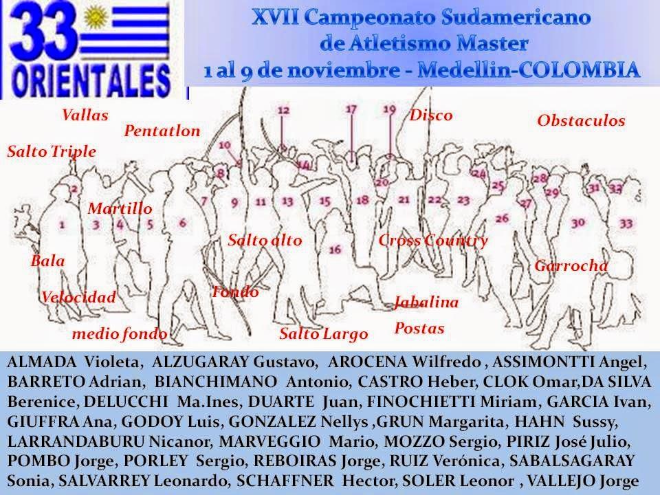 Uruguayos al Campeonato sudamericano de atletismo master (Medellín, Colombia; 01a09/nov/2014)