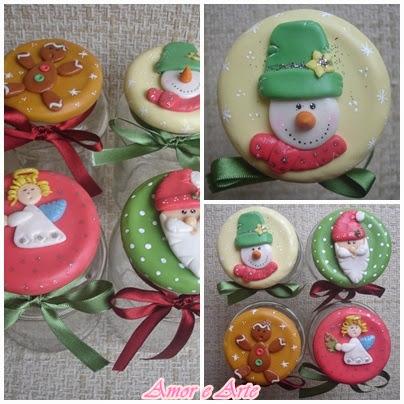 Vidros dedorados para natal, Bolachinha, Anjinho, Papai Noel e Boneco de Neve