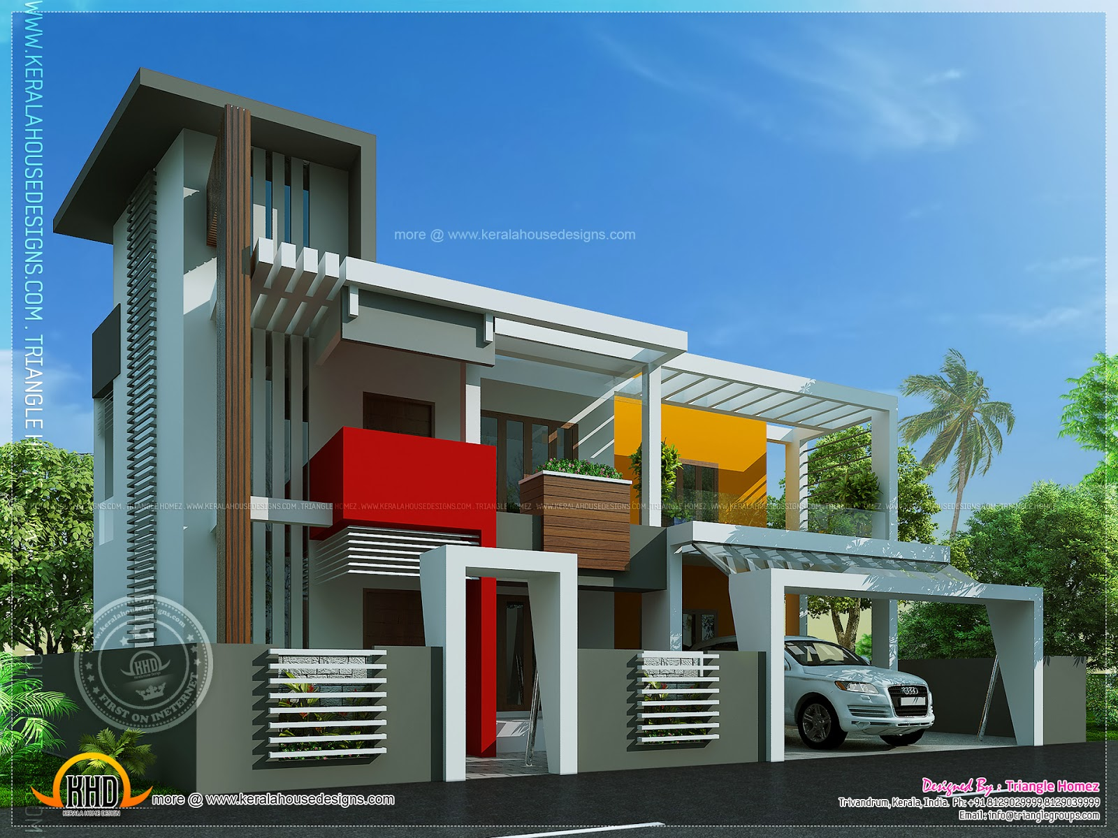 Contemporary house in unique design kerala home design for Cool modern house plans