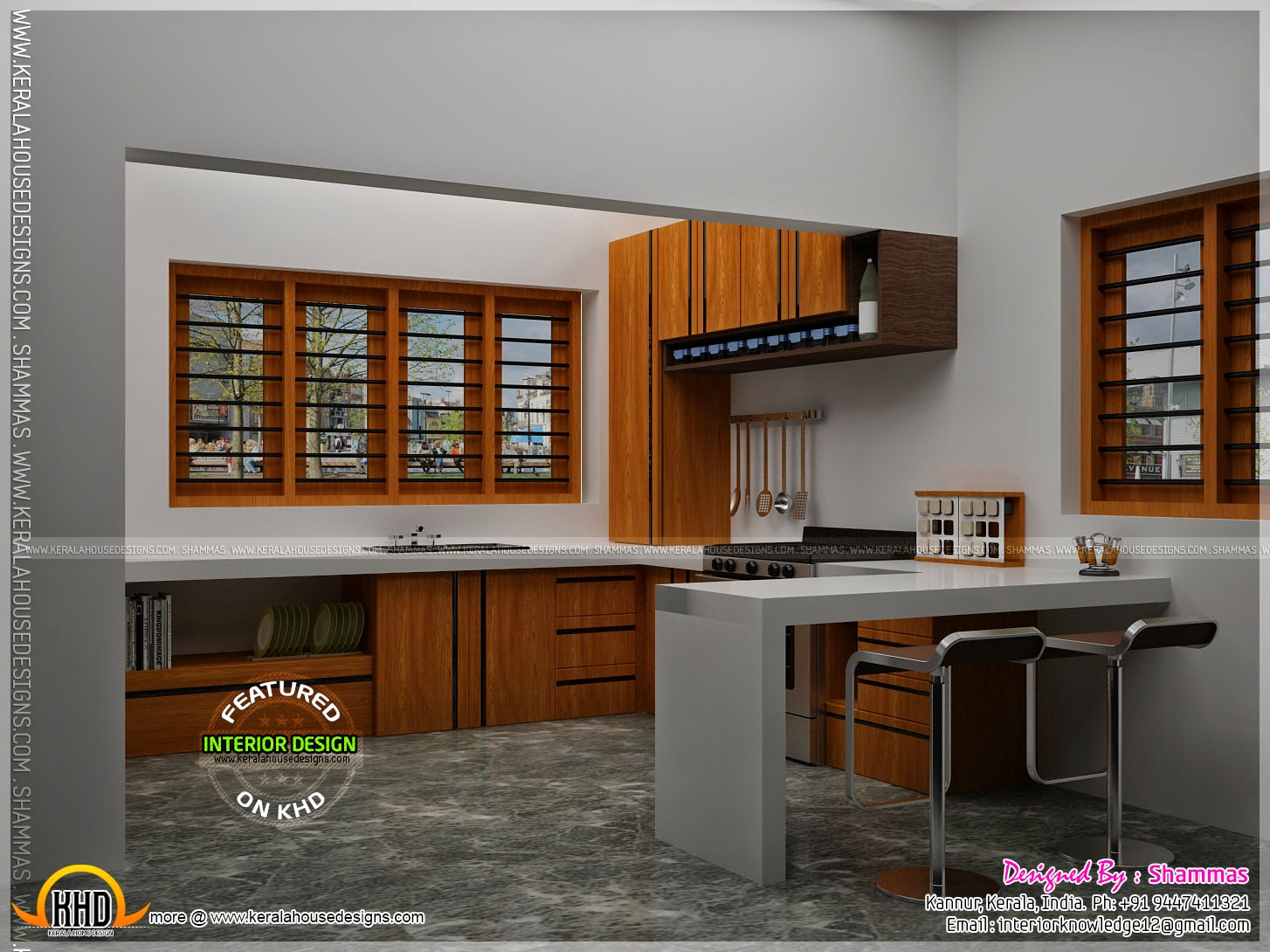 Modern house elevation with interior renderings kerala for Indian house kitchen design