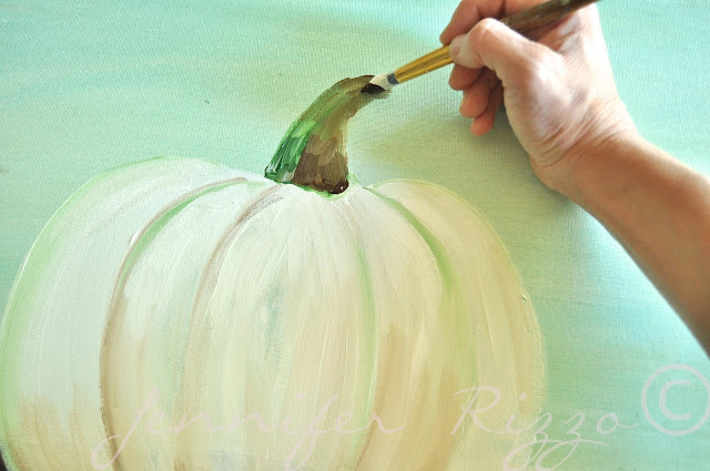 How to paint a pumpkin canvas, art skills not required!!!finshing the stem