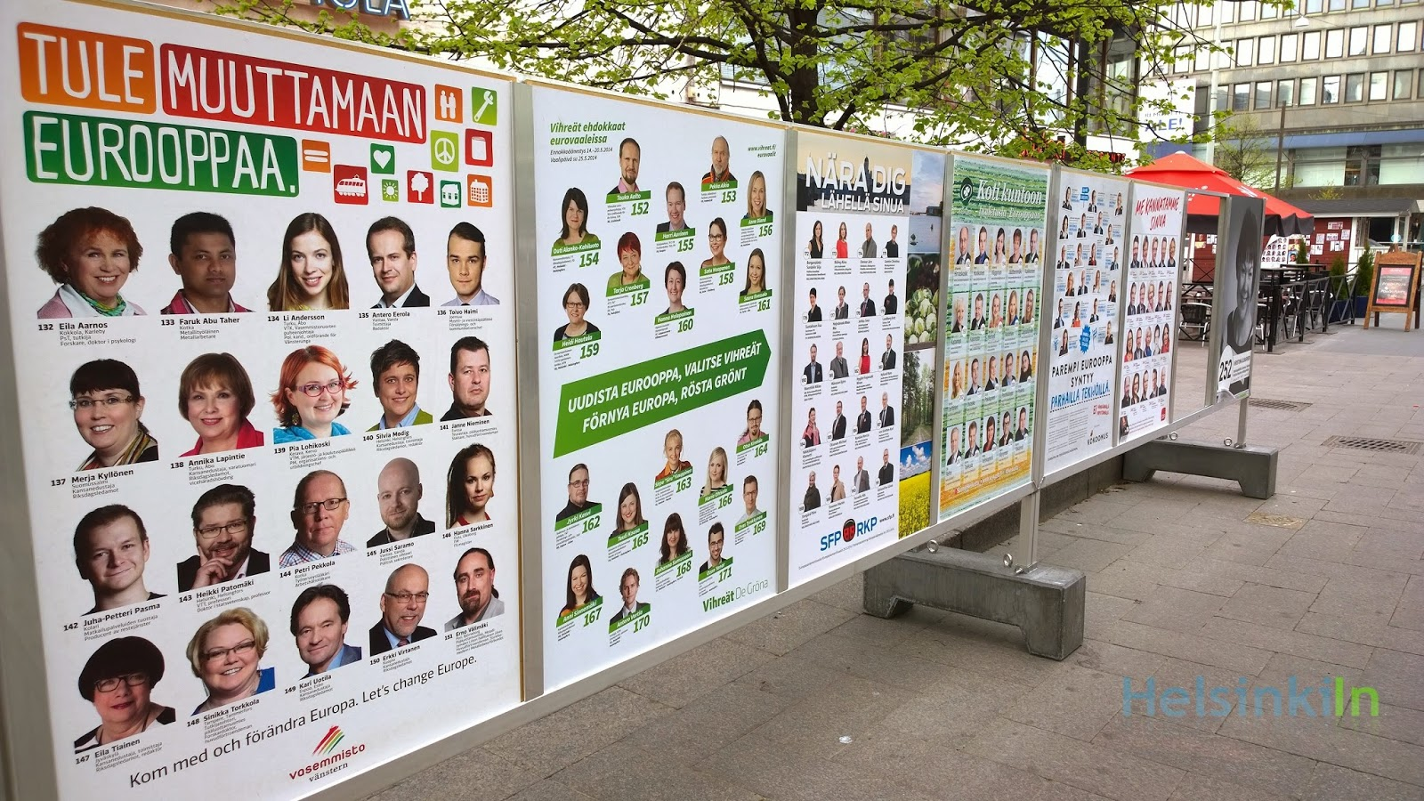 election posters in the center of Helsinki