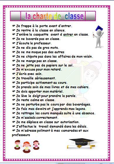 وثائق الأستاذ   Charte de la classe - fichier word -