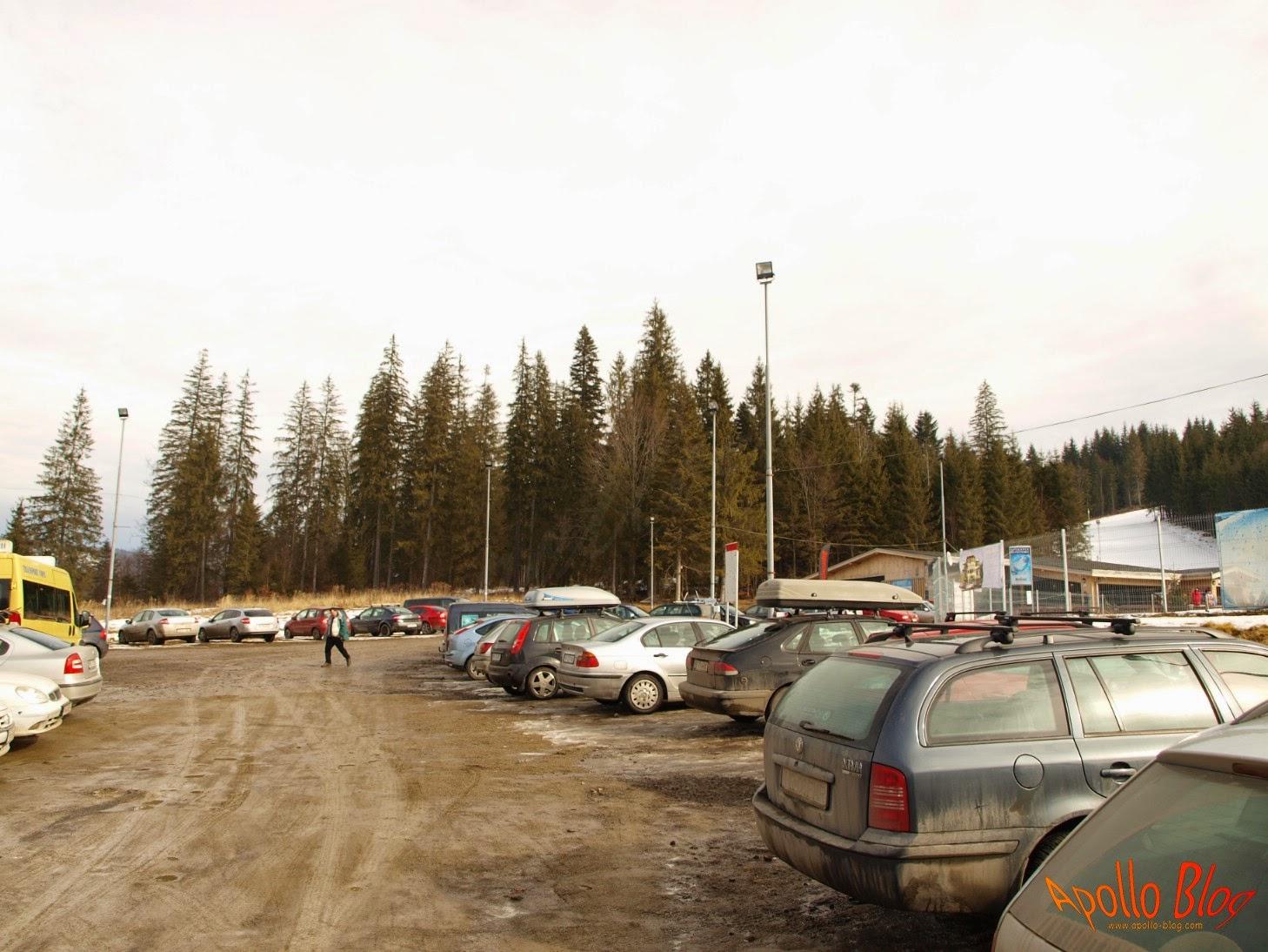 Parcare la partia de schi din Borsec