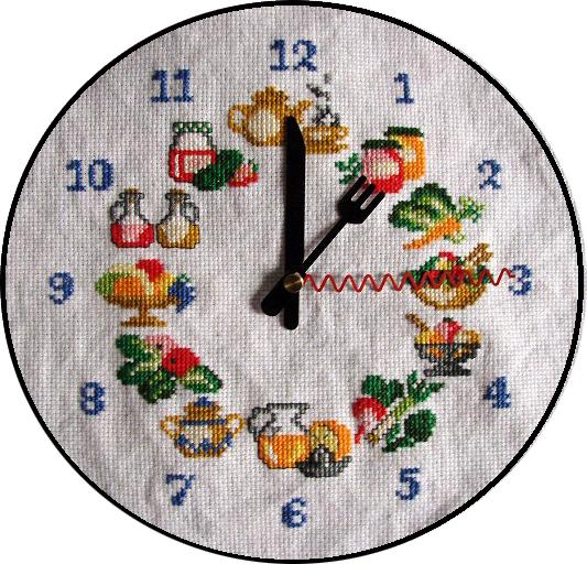 Isateje reloj de cocina punto de cruz - Relojes para cocina ...