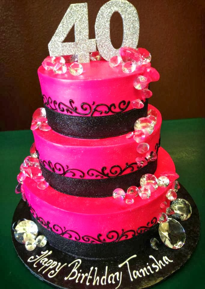 Here's a 3 tier hot pink 40th cake with edible diamonds on it! Made ...