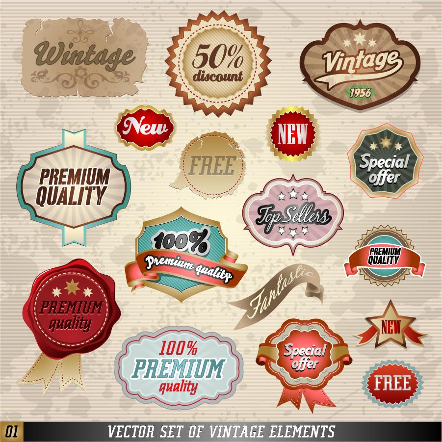 古風でお洒落なステッカー見本 classic paper ribbons labels stickers イラスト素材