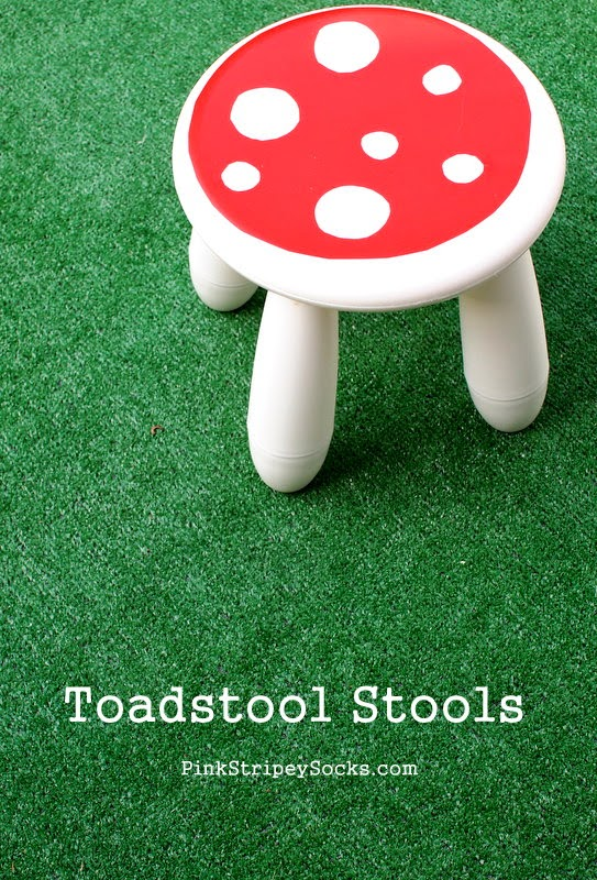 Super easy tutorial for turning an Ikea stool into a cute DIY Toadstool stool!