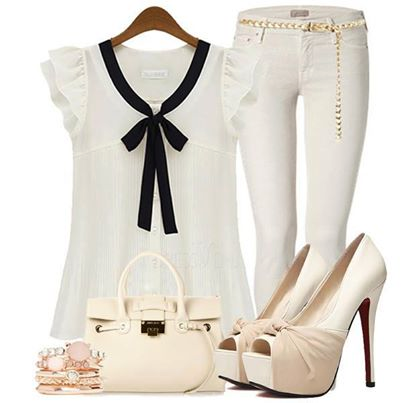 White Dress, Skiny Pants, Heels, Hand Bag,  | Outfits