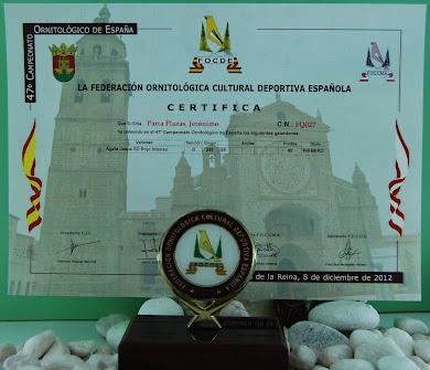 TROFEO CONSEGUIDO EN EL CONCURSO NACIONAL REALIZADO EN TALAVERA DE LA REINA 2012