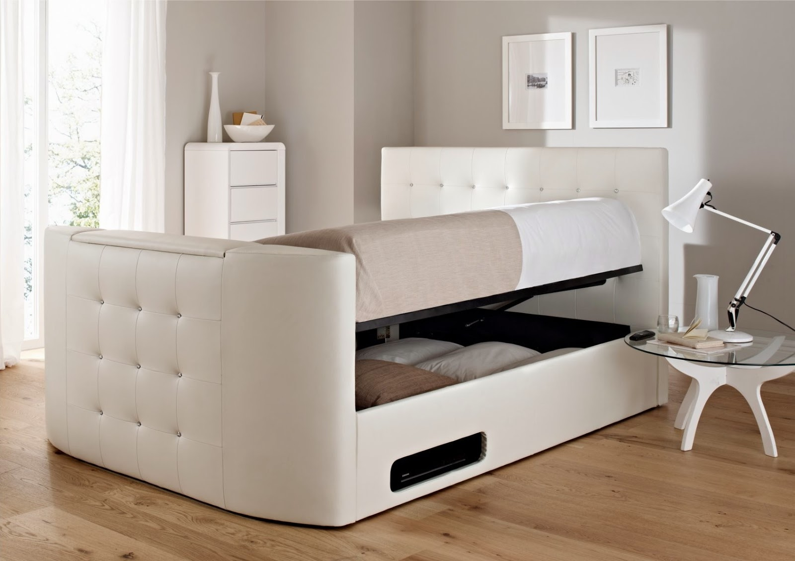Beautiful White Ottoman Double Bed