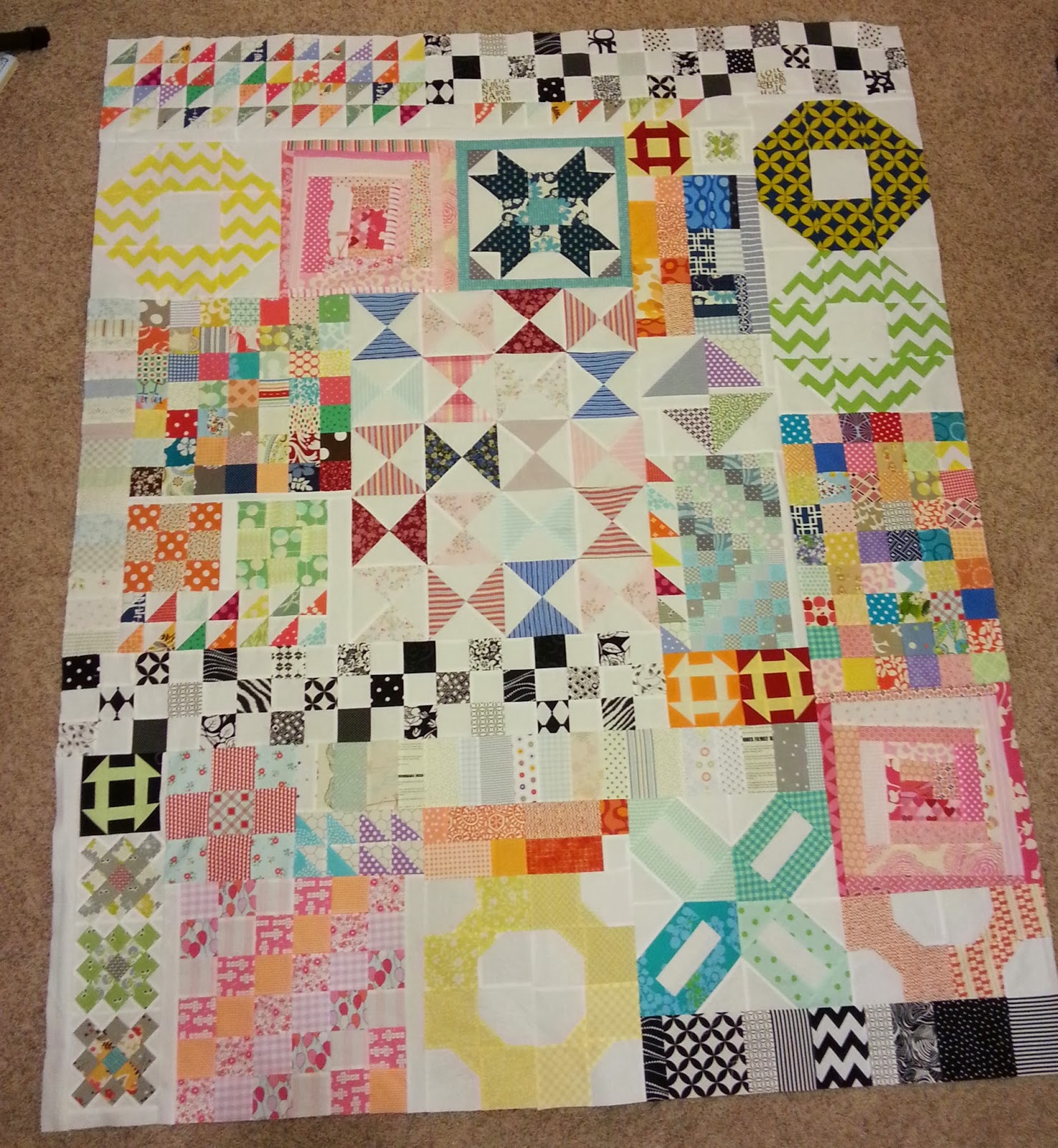 Scrappy Orphan Quilt Block Top